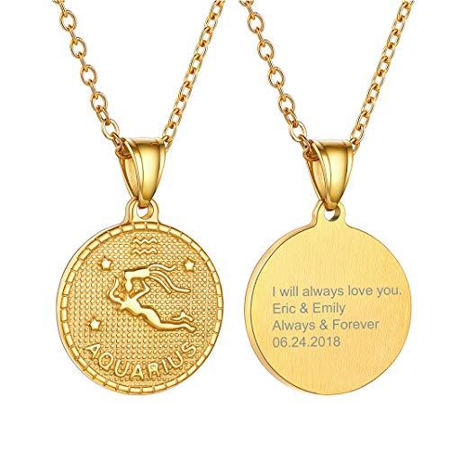 Aquarius Gold Horoscope Pendant, Custom Engraving Zodiac Sign Coin Necklace