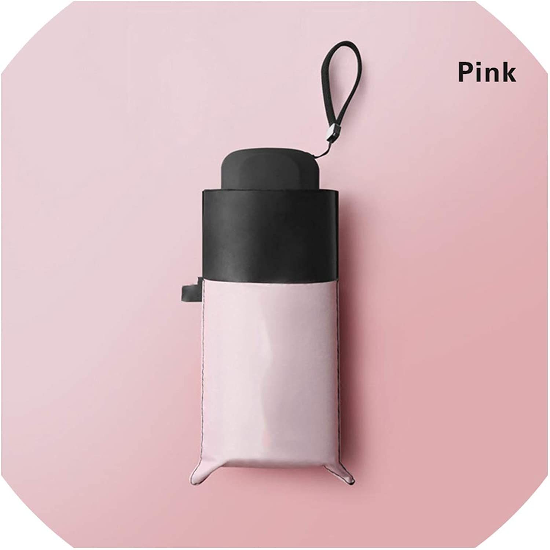 Portable Mini AntiUltrapurple Sun Umbrella Black Coating Windproof Five Folding Compact Umbrellas for Women Girl