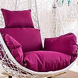 MonthYue Coussin Fauteuil Suspendu, Patins De Chaise en Forme D'œuf Pendant en Rotin Détachable Chaises Suspendues avec Oreiller Épais Nid,Purple