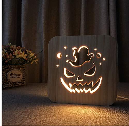 Kürbis-Geist führte Nachtlicht-Halloween-Geschenk-Schreibtisch-Nachtlicht Usb-Stecker 3D warme hölzerne hohle feste Kiefern-Schlafzimmer geführte Tischlampe