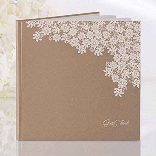 Guestbook del matrimonio, shabby chic,con motivo floreale, colore: naturale