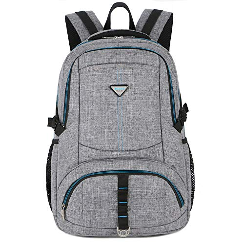 SOCKO Laptop Backpack 17 Inch, Large Durable Travel Backpack w/Anti Theft Pocket Water Resistant Business Computer Rucksack Teen School Bag College Daypack for Men Women Fits up to 17.3' Laptop,Grey