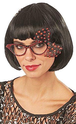 Andrea-Moden Cat Eye Brille mit Strass und Schleife - Rot - Toll zum 50er 60er Jahre Rockabilly Kostüm