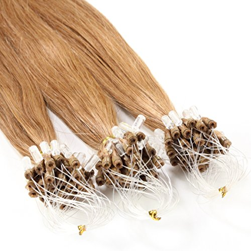 Just Beautiful Hair and Cosmetics Lot de 100 extensions Remy Loop avec micro anneaux Blond miel (12) 50 cm