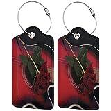 ZOANEN Etiquetas para Equipaje,Guitarra española con Amor Rose Print,2 Piezas Etiquetas de Equipaje de Viaje Etiquetas de Identificación de la Maleta para Maletas,Mochila