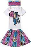 Shenbolen Baby Girl African Print Clothing Ankara Skirt Top Set(B,X-Large)