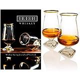 Vaso de whisky irlandés, edición especial de oro, el vaso de sabor de whisky de Irlanda (juego de 2) con el diario y cuaderno de sabor de whisky irlandés. Set de regalo de whisky