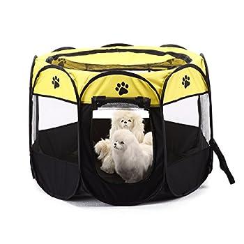 Tineer Portable Pet Cat Cage pour Chien Niche Chenil Tente Lit Parc d'enfant Camping de Plein air Pliable Maison de Caisse de Chien de Voyage Playpen (Medium: 90×90×60cm, Jaune)