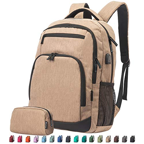 Travel Laptop Business Backpack Anti Theft Water Resistant School Computer Bagpack Gifts for Men amp WomenFits 156 Inch Notebook with USB Charging Port Bonus a Small pencil Case Sand yellow