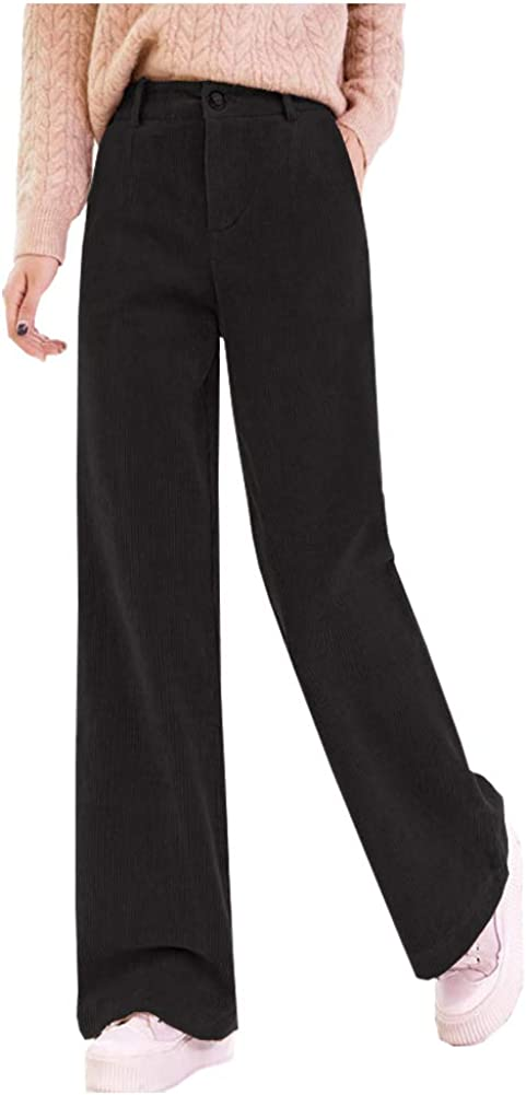 Ladyful Women's Corduroy Pant High Waist Straight Long Casual Trousers with Pockets Black