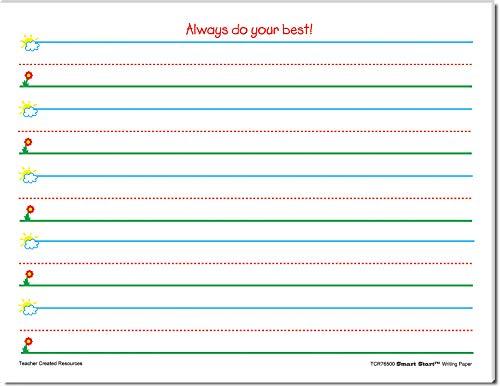 Teacher Created Resources Smart Start K-1 Writing Paper: 40 Sheet Tablet