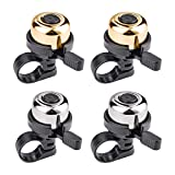 Emoly Bike Bell, 4 Pack Premium Bicycle Bell, Brass Bike Bells for Adults and Kids - Crisp Loud Melodious Sound - Bicycle Bells for Road Bike, Mountain Bike (Gold&Silver)