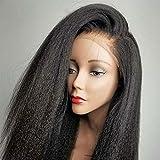 Italian Yaki Lace Front Wigs 13x4 Yaki Kinky Straight Human Hair Wigs for Black Women Glueless Yaki Straight Virgin Brazilian Human Hair Lace Wig with Baby Hair (22inch, 13x4 KS)
