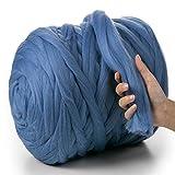 MeriWoolArt - Lana de merino 100 % para punto y ganchillo con hilo de 4-5 cm de grosor, lana de merino gruesa para bufanda, manta y cojín XXL, azul claro, 4,5Kg Rolle