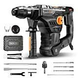 TACKLIFE 1-1/4 Inch SDS-Plus Electric Rotary Hammer Drill 12.5 Amp with Vibration Control, 7Joules Impact Energy, 4350BPM, 900RPM, 4 Functions, Ideal for Concrete and Stones -TRH01A