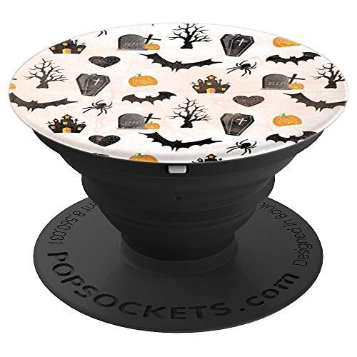 Cute Halloween Pattern Spooky Bats Spider Pumpkin Wallpaper - PopSockets Ausziehbarer Sockel und Griff für Smartphones und Tablets