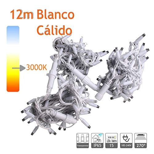 GUIRNALDA CORDÓN LED 12M BLANCO CÁLIDO 180LEDS INTERCONECTABLE (MÁX. 5) EXTERIOR PROFESIONAL NAVIDAD EVENTOS