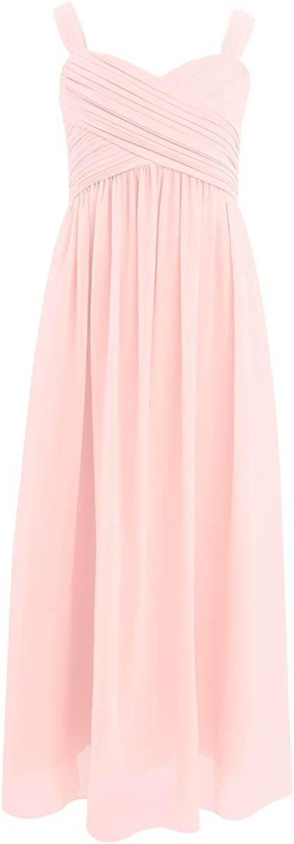 FEESHOW Kids Big Girls Ruched Bust Chiffon Junior Bridesmaid Long Dress Wedding Party Prom Gown