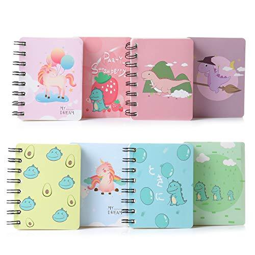 Klein Notizbuch, XiYee 8 Stück Kinder Mini Notizblock, Tragbar Klein Spirale Notebook, Kinder Klein Notizblöcke, Notizbuch Spiralnotizblock mit Cute Cartoon Muster Mini Tagebuch Notizblock (02)