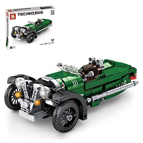 SENG Technik Oldtimer Dreirad Modell Bausteine Bausatz, 487 Teile Zurückziehen Spielzeugautos für Kinder und Erwachsene, Kompatibel mit Lego Technik