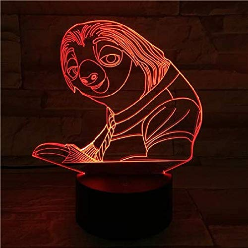 Luz de Noche 3D Luz de Noche LED 3D Ilusión USB rojo Fox Nick Sensor Táctil RGB Niño Niños Regalo Flash Perezoso Lámpara de Mesa Escritorio