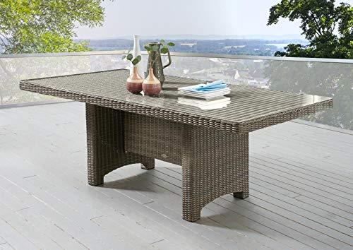 Gartentisch Destiny Luna 200 x 100 cm Braun Geflechttisch Esstisch Tisch Polyrattan Wintergarten