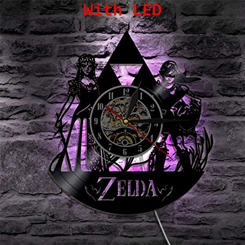 HHYXIN Schallplatte Wanduhr Die Legende Von Zelda Vinyl Uhr Handgemachtes Geschenk Wand Atmosphäre Leichte Lp Vintage Silhouette Rekord Cool Interieur Dekorativ