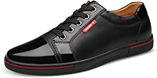 HongJie Hou Fashion Sneakers for Men Casual Skater Sports Shoes Lace Up Low Top Stitch Genuine Leather Round Toe Lightweight Wear Resistant (Color : Black, Size : 6.5 UK)