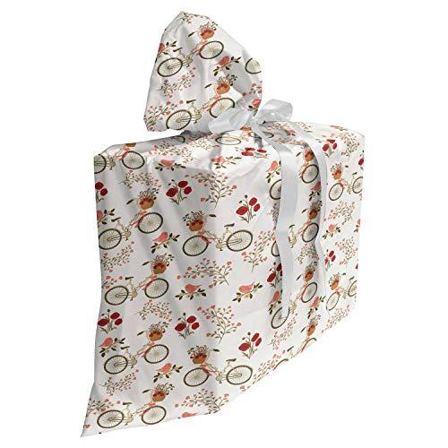 ABAKUHAUS Floreale Baby Shower Sacchetti Regalo, Biciclette Poppy Flowers, Sacchetto Bomboniera Riutilizzabile in Tessuto con 3 Nastri, 70 cm x 80 cm, Multicolore