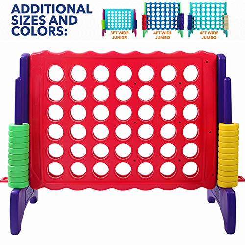 "Giant 4 in A Row, 4 to Score - Premium Plastic Four Connect Game JUNIOR 2.75FT (33.5"" Tall) Set With 44 Rings by Rally & Roar – Oversized Fun Family, Indoor/Outdoor Games"