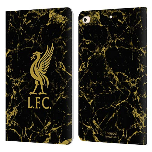 Official Liverpool Football Club Black & Gold Marble Crest & Liverbird Patterns 1 PU Leather Book Wallet Case Cover Compatible For Apple iPad mini (2019)