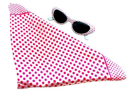 Bandana rose/blanc/rockab. Années 50 Femme Set Monro de Carnaval. tuecher avec lunettes de soleil assortie 1960 rockab. Rose/blanc/5363