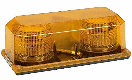 Wolo (3700P-A) Priority 2 Strobe Emergency Warning Mini Light Bar - Amber Lens, Permanent Mount