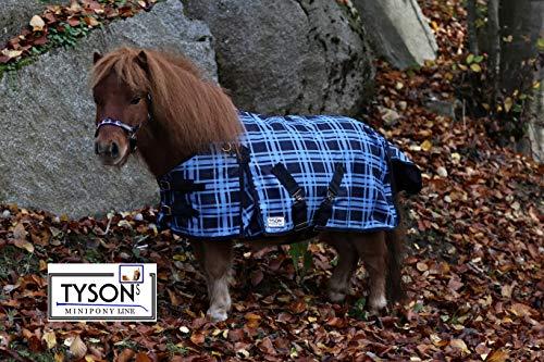 Outdoor Decke Blau Karo Fleece Futter 65 75 85 95 105 Rückenlänge Tysons Regendecke Minishetty Shetty Falabella Fohlen (75)