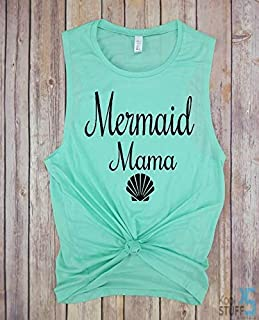 Mermaid Mama - Muscle Tank, Mermaid Mom, Mermom Shirt, Mother Of Mermaids, Mermaid Mom Shirt, Mermaid Mama Shirt, Mermama Shirt, Mermaid Shirt, Mermaid Mom Shirt Mama Shirt Shirt, mom life shirt.