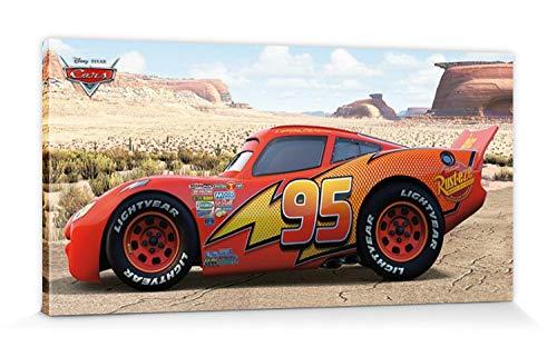 1art1 Cars Poster Reproduction sur Toile, Tendue sur Châssis - Lightning McQueen Sideshot (100 x 50 cm)