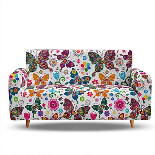 Funda de sofá de tela elástica de alta elasticidad para sofá de 3 plazas, funda protectora de poliéster y elastano para muebles (3 plazas, patrón de mariposa)