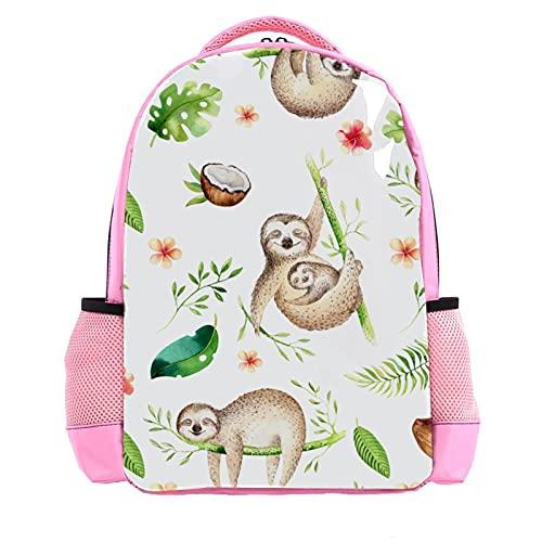 Girl Pink Backpack Women Shoulder Bags College Bookbag Travel Rucksack Cartoon Sloth