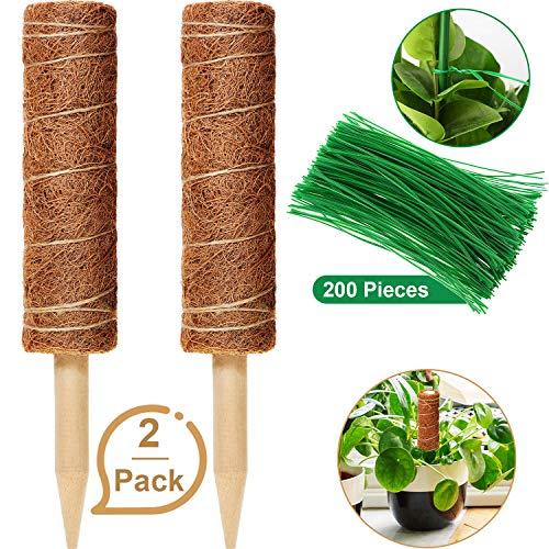 Blulu 2 Packungen Kokos Totempfahl 12 Zoll Kokosmoos Stab Kokosmoos Totempfahl mit 200 Stück Garten Twist Krawatten für Creepers Plant Support Extension Climbing Zimmerpflanzen