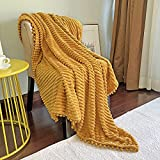 DISSA Flannel Blanket with Pompom Fringe, Lightweight Plush...