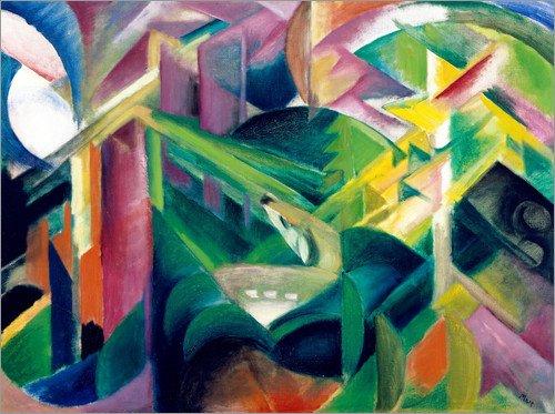 Acrylglasbild 130 x 100 cm: REH im Klostergarten von Franz Marc - Wandbild, Acryl Glasbild, Druck auf Acryl Glas Bild