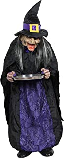 RBH Halloween Witch Decoration, Light Sensor Control Switch, Eyes Will Glow, Horrible Sound, Jaw Bone Will Shake, Hand-Held Candy Plate, Unexpected Props