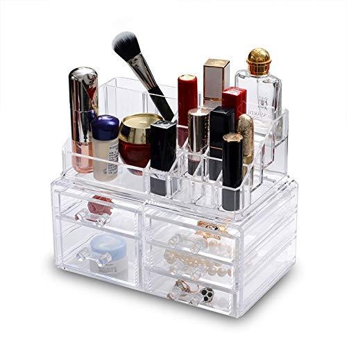 MUY Nueva Caja de Almacenamiento de cosméticos Multifuncional Caja de Almacenamiento de joyería Transparente de plástico Caja de cosméticos a Prueba de Polvo de decoración de Escritorio