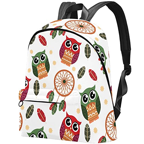 Laptop Daypack Backpack Travel Casual Rucksack Boho Dreamcatcher Owl for Adults and Unisex Lightweight College Schoolbag