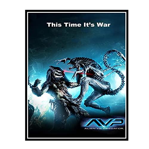 IUYTRF Calcomanías Alien Vs Predator Poster Aliens Pegatinas de pared Mural Dormitorio Papel tapiz Office Cafe Bar -50X70 cm Sin marco 1 Uds