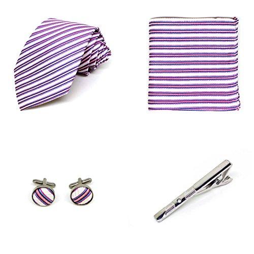 S.R HOME Coffret Cadeau Ensemble Cravate homme, Mouchoir de poche, épingle et boutons de manchette Rayures Roses et Argentées