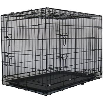 "GoPetClub 36"" Two Door Dog Pet Bed House Folding Metal Crate Cage Kennel"