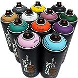 Montana BLACK Montana Black - Juego de 12 botes de pintura en spray para graffiti Street Art (400 ml)