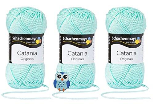 Schachenmayr Catania Wolle 3x50 Gr, 100% Baumwolle + 1 Eulen Knopf (Farbreihe 300-399) (385 Mint)