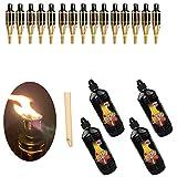 Moritz - Juego de 15 antorchas de bambú, 60 cm, natural estándar + 4 x 1000 ml de aceite para lámpara de jardín